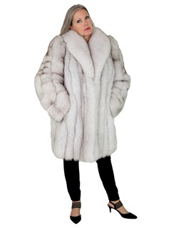Woman's Natural Blue Fox Fur 3/4 Coat