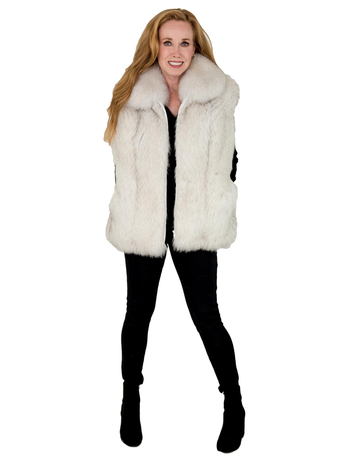 Woman's Natural Blue Fox Fur Vest