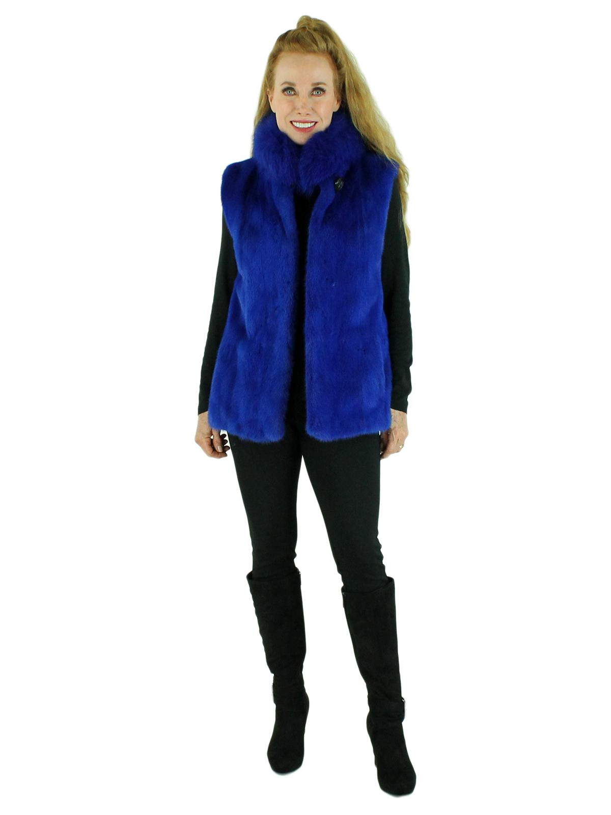 Woman's Royal Blue Mink Fur Vest