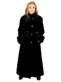 Woman's Black Sheared Mink Fur Coat Reversing to Rain Fabric