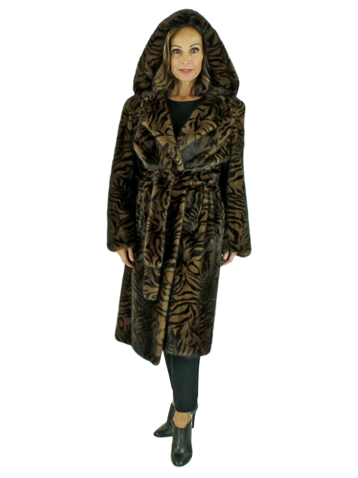 Woman's Animal Print Stenciled Female Mink Fur 7/8 Coat with Belt
