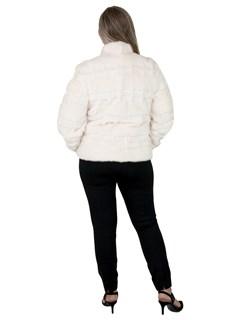 Woman's White Mink Fur Jacket Reversible to Rain Fabric