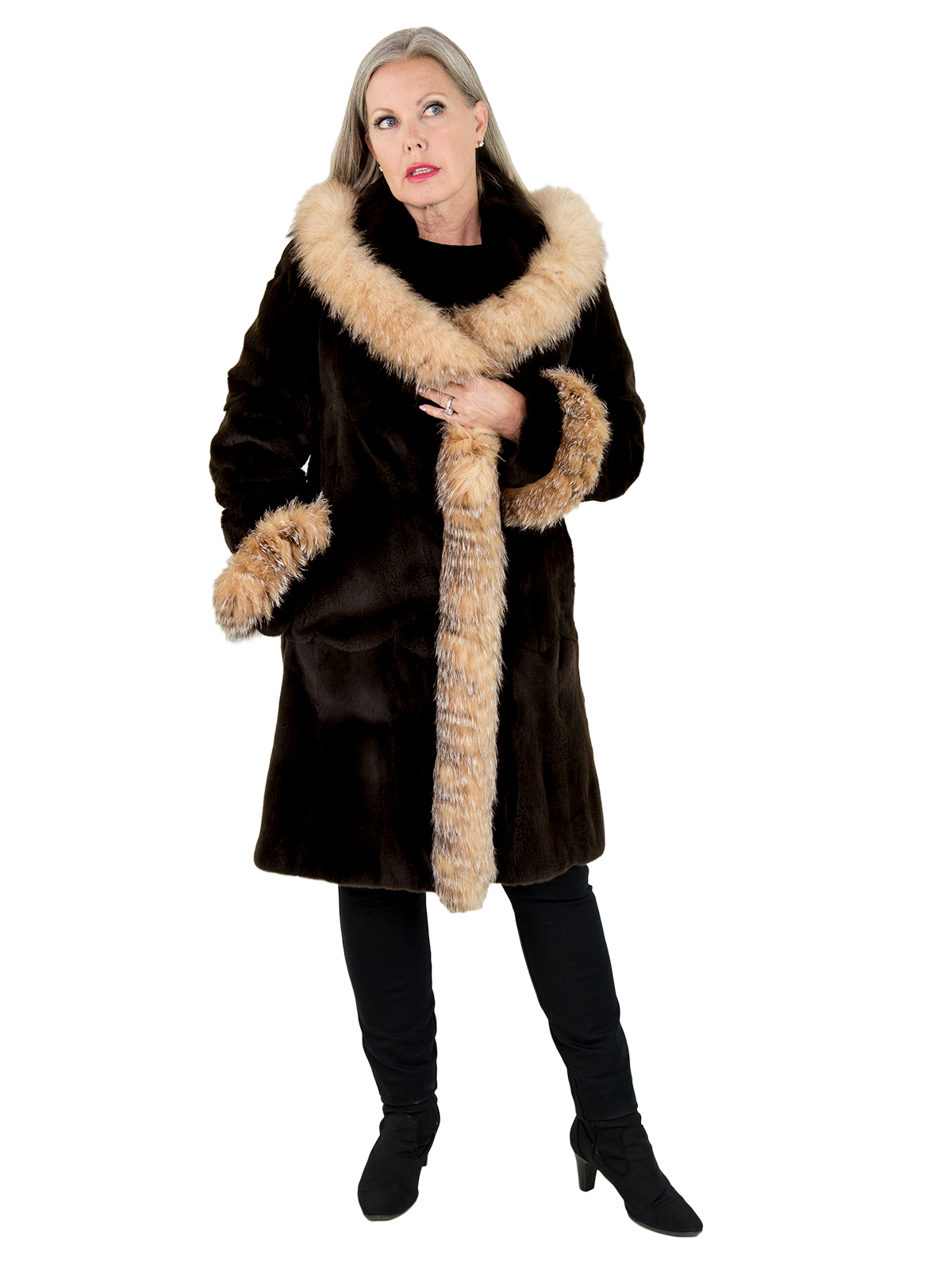 Woman's Brown Sheared Mink Fur 3/4 Coat with Crystal Fox Trim