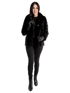 Woman's New Black Sheared Mink Fur Jacket / Reversible