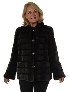 Woman's New Dark Brown Sheared Mink Fur Jacket / Reversible