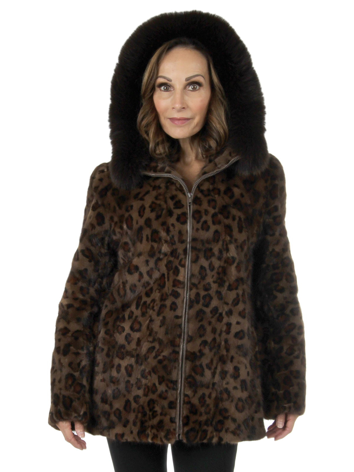 Woman's Animal Print Sectioned Mink Fur Parka