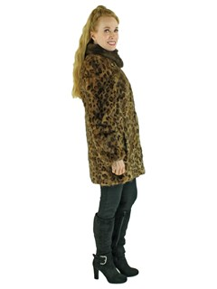 Woman's New Animal Print Stenciled Mink Fur Jacket