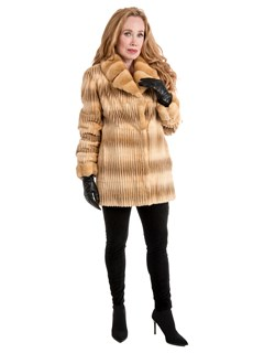 Woman's Gold Sheared and Laser Grooved Mink Fur Jacket