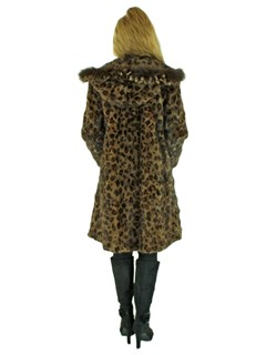 Woman's Leopard Dyed Mink Fur Stroller Reversible with Hood