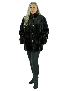 Woman's New Brown Sheared and Sculptured Mink Fur Jacket / Reversible