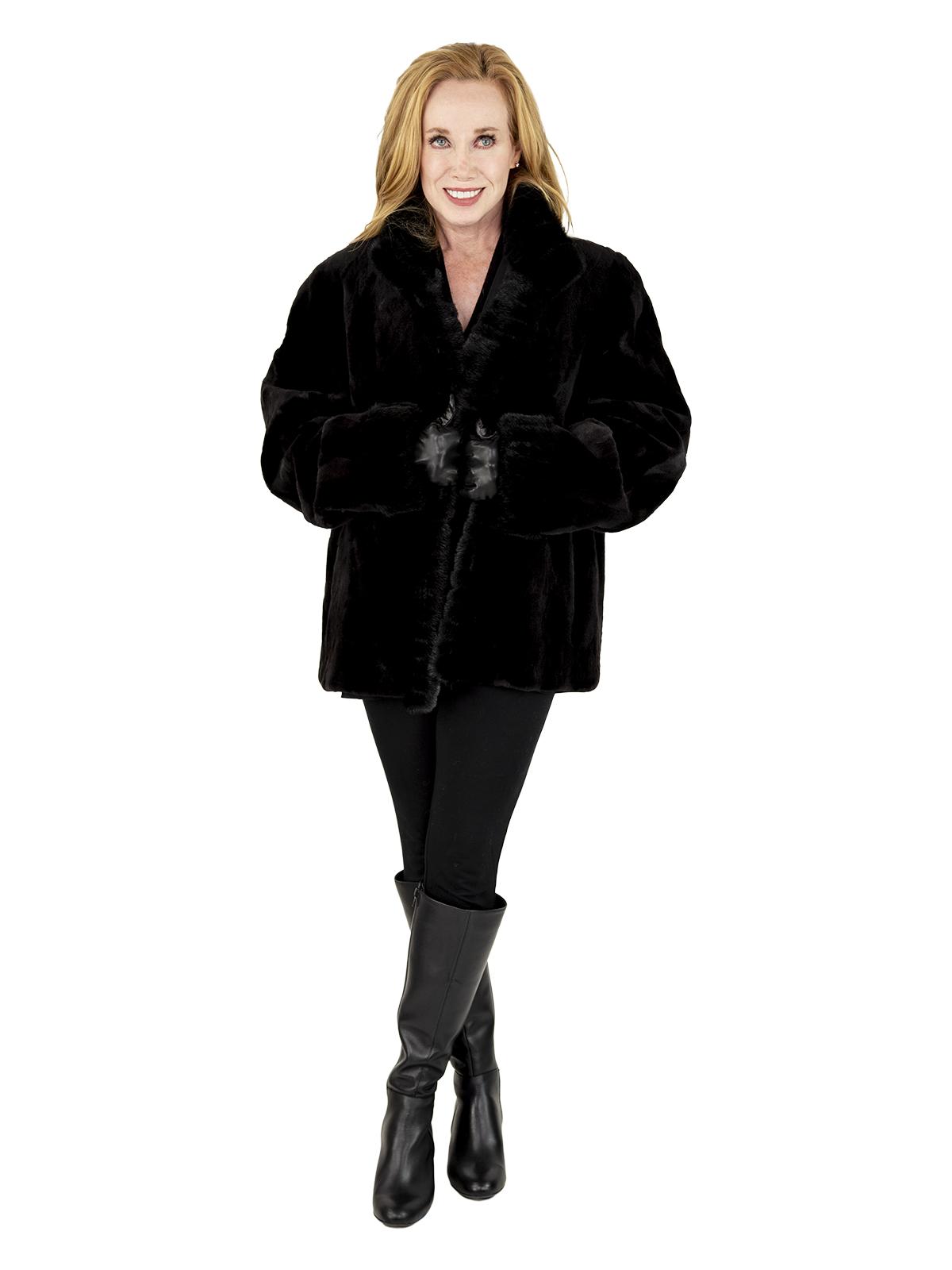 Woman's Black Sheared and Sculptured Mink Fur Jacket Reversible to Rain Taffeta