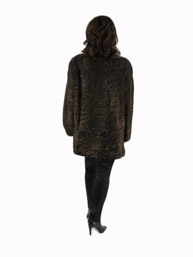Swakara Lamb Fur Stroller w/ Mink Collar