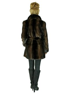 Woman's Demi Buff Female Mink Fur Stroller with Optional Belt