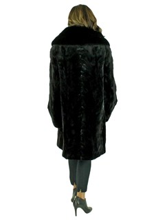 Woman's New Black Sheared and Sculptured Mink Fur Stroller / Reversible