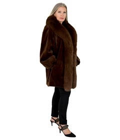 Woman's Sugar Brown Sheared Mink Fur Stroller with Fox Tuxedo Front