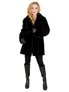 Woman's Black Sheared Mink Fur Jacket, Reverses to Rain Taffeta