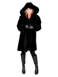 Woman's Black Sheared and Grooved Mink Fur Stroller with Fox Tuxedo Front, Reverses to Rain Fabric