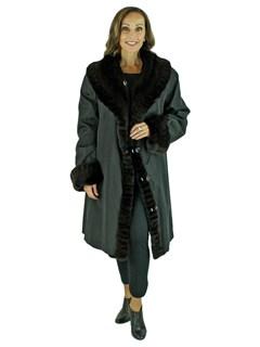 Woman's Brown Sheared Mink Fur 7/8 Coat / Reversible