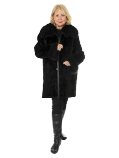 Women's Black Sheared and Sculptured Mink Fur Stroller with Finn Raccoon Trim