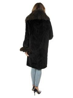Woman's Brown Sheared and Sculptured Mink Fur Stroller with Finn Raccoon Trim
