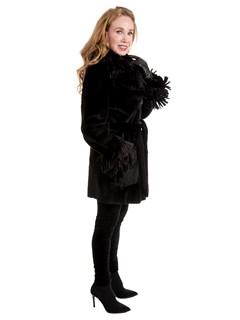 Woman's New Black Sheared Mink Fur Stroller with Belt