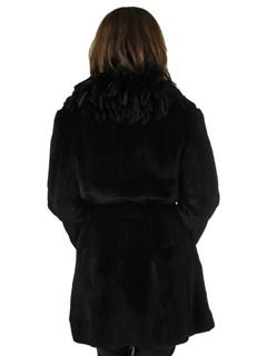 Woman's Black Sheared Mink Fur Stroller with Belt