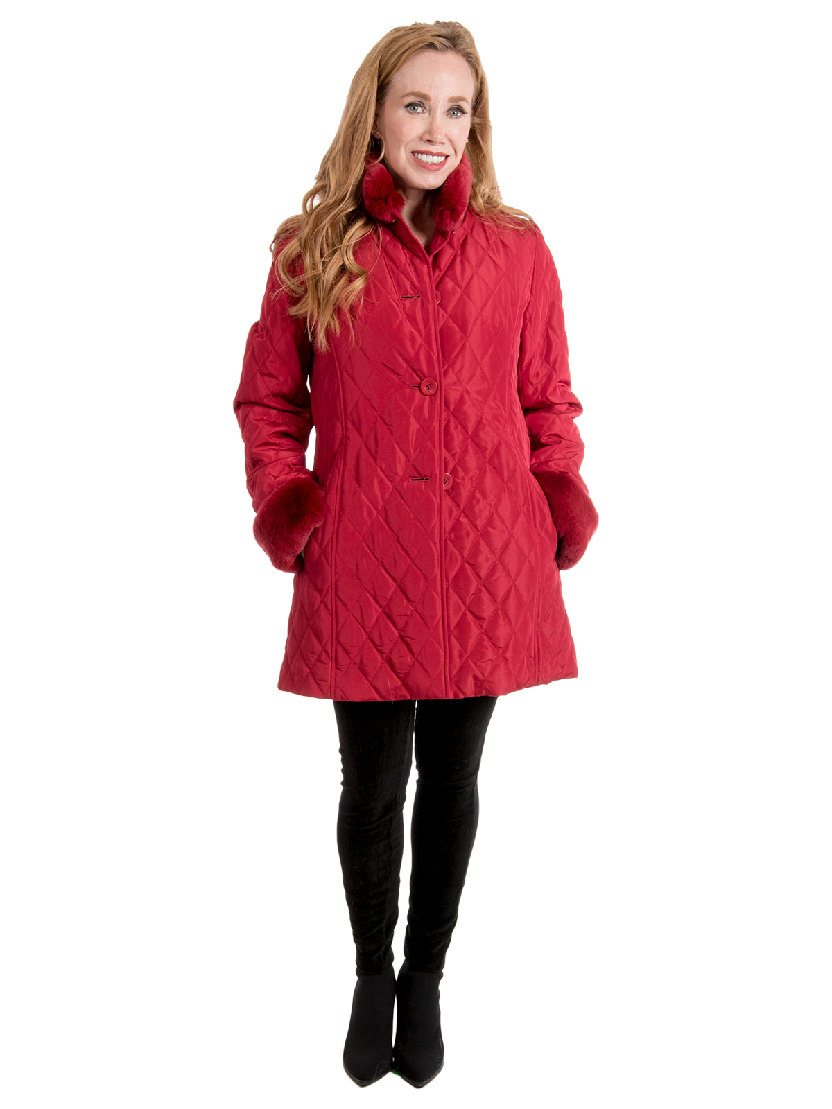 Woman's Red Quilted Taffeta Jacket with Rex Rabbit Lining