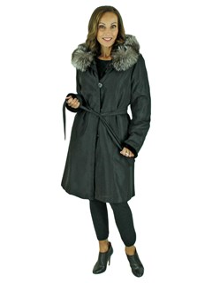 Woman's New Black Sheared Sectioned Mink Fur Stroller with Hood / Reversible