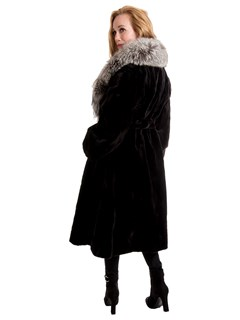 Woman's Ranch Sheared Mink 7/8 Coat with Natural Silver Fox Collar