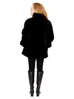Woman's Black Sheared Mink Fur Jacket with Traditional Mink Trim