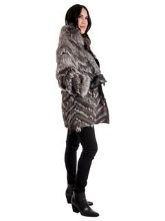 Woman's Silver Fox Fur Stroller / Reversible