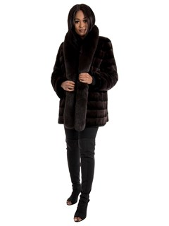 Woman's New Brown Sheared Mink Fur Stroller with Fox Tuxedo / Reversible