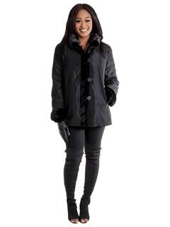 Woman's Black Sheared Mink Fur Jacket V Design / Reversible