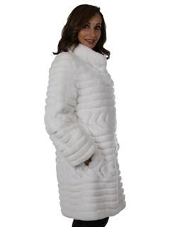 Woman's White Sheared Rex Rabbit Fur Stroller