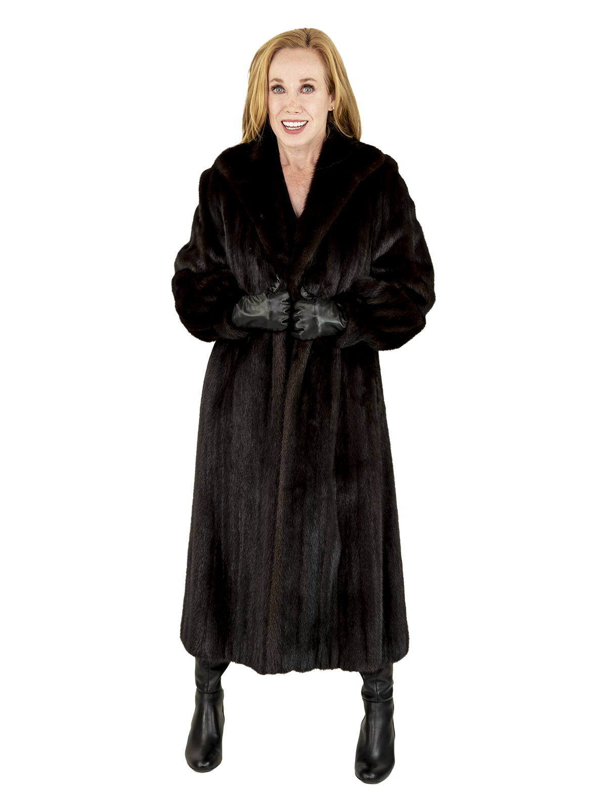 Woman's Deep Mahogany Female Mink Fur Coat
