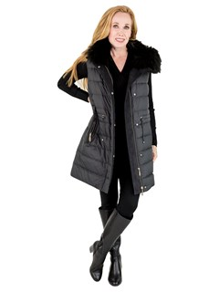 Woman's Black Fabric Down Hooded Vest with Rex Rabbit Fur Lining
