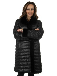 Woman's Black Sculptured Mink Fur Stroller Reverses to Down Filled Fabric