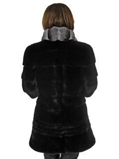Woman's New Ranch Mink Fur Coat with Chinchilla Collar
