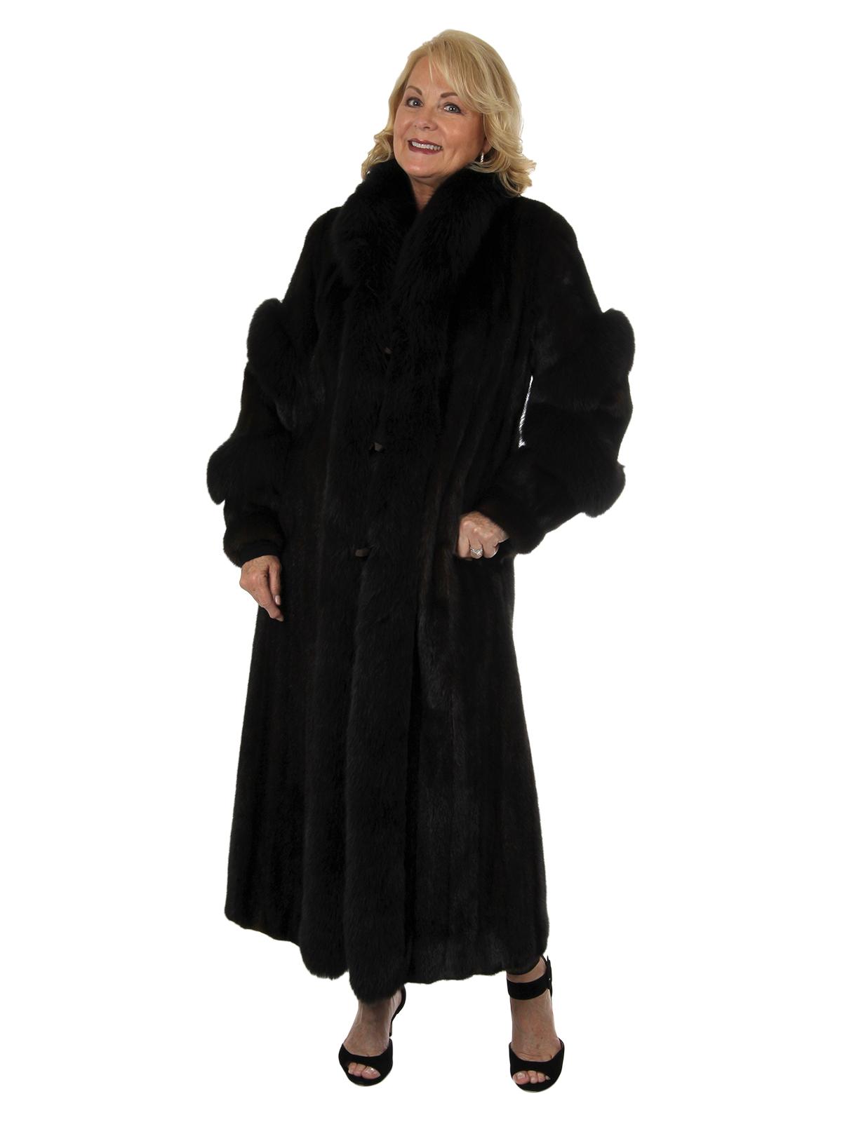 Woman's New Deep Mahogany Female Mink Fur Coat with Fox Trim