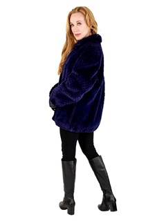 Woman's Royal Blue Sheared Beaver Fur Jacket