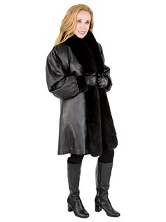 Woman's Black Sheared Mink Fur Stroller with Fox Tuxedo Front Reversing to Black Leather