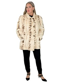 Woman's Cream and Brown Semi-sheared Mink Fur Jacket