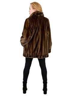 Woman's Female Mahogany Mink Fur Jacket