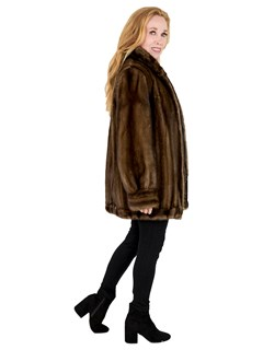 Woman's Female Mahogany Mink Fur Jacket