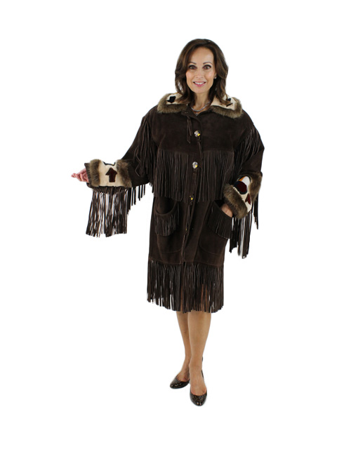 Brown Suede with Sheared Beaver Fur Trim Jacket