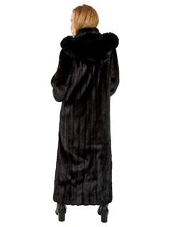 Woman's Ranch Female Mink Fur Coat with Detachable Hood
