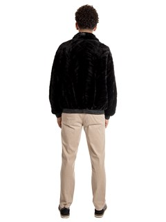 Man's Black Sheared and Sculptured Mink Fur Jacket Reversing to Leather