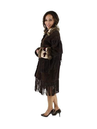 Suede w/ Sheared Beaver Fur Trim Jacket