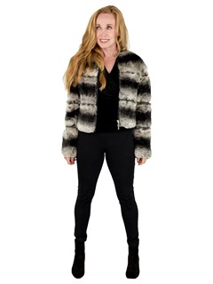 Woman's Petite Natural Chinchilla Fur Jacket