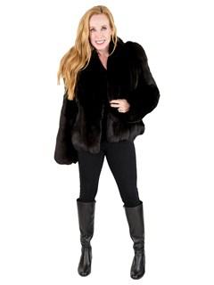 Woman's Petite Black Fox Fur Jacket